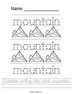 Practice writing the word mountain Handwriting Sheet