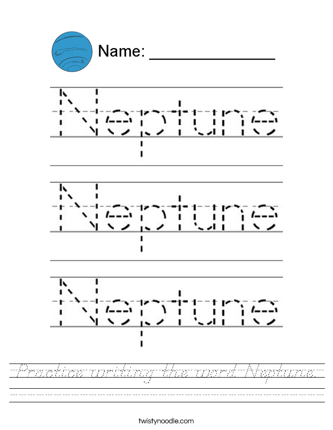 Practice writing the word Neptune. Worksheet