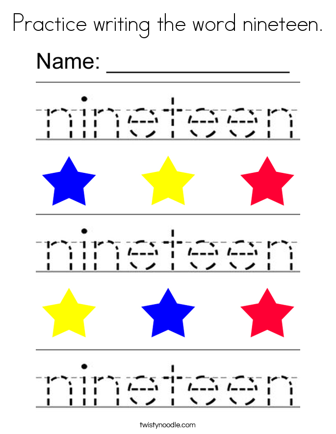 Practice writing the word nineteen. Coloring Page