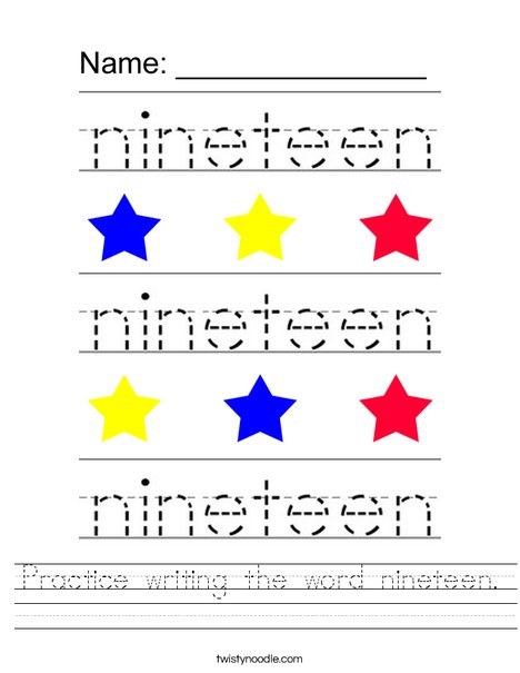Practice writing the word nineteen. Worksheet