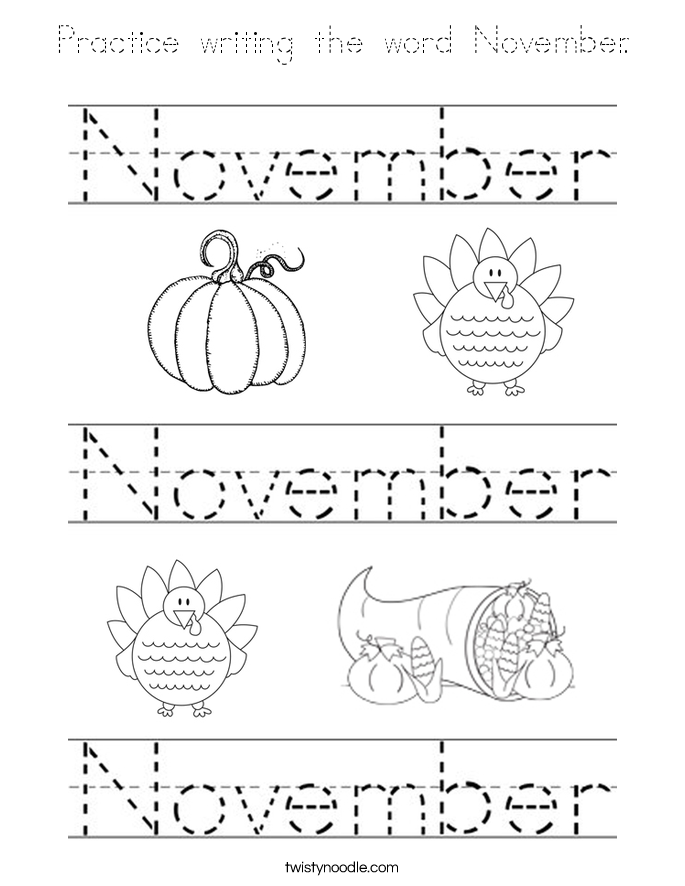 Practice Writing The Word November Coloring Page Tracing November Coloring Page