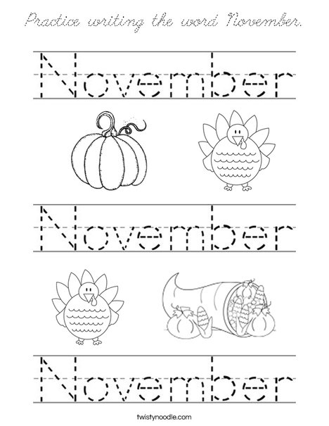 Practice writing the word November. Coloring Page
