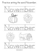 Practice writing the word November Coloring Page