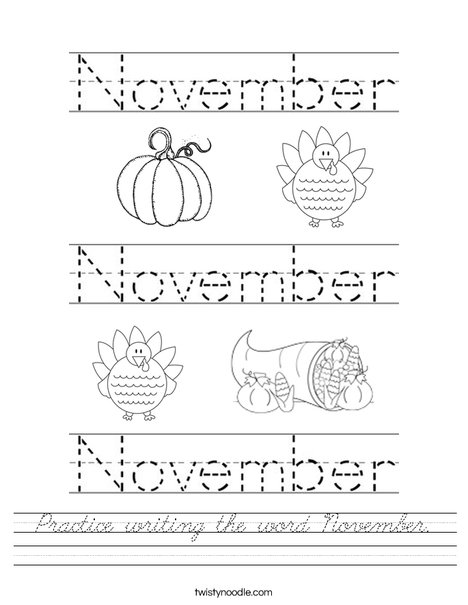 Practice writing the word November. Worksheet