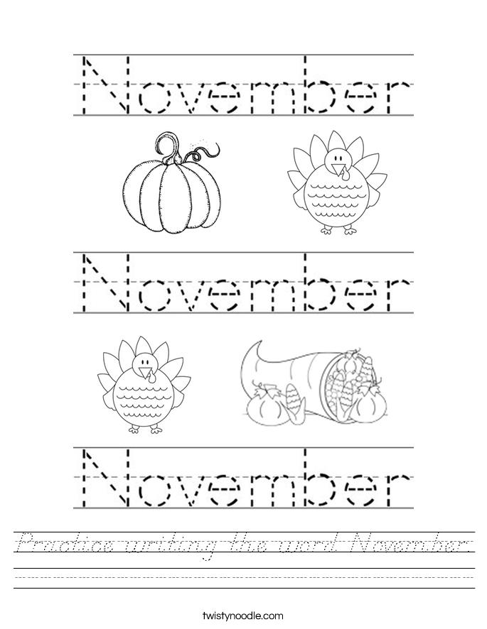 Practice writing the word November. Worksheet
