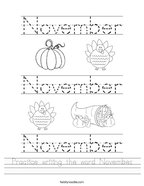 Practice writing the word November Handwriting Sheet