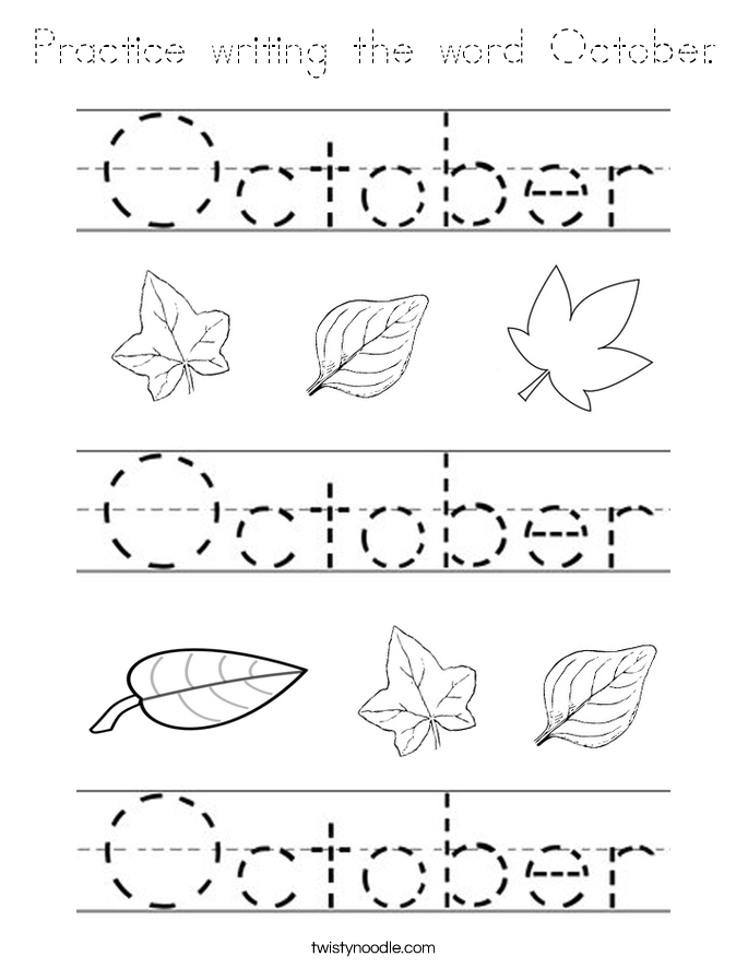 Practice writing the word October. Coloring Page