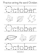 Practice writing the word October Coloring Page