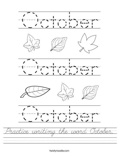 Practice writing the word October. Worksheet