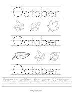 Practice writing the word October Handwriting Sheet