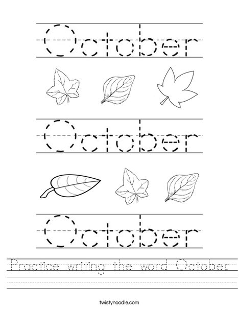 Practice writing the word October. Worksheet