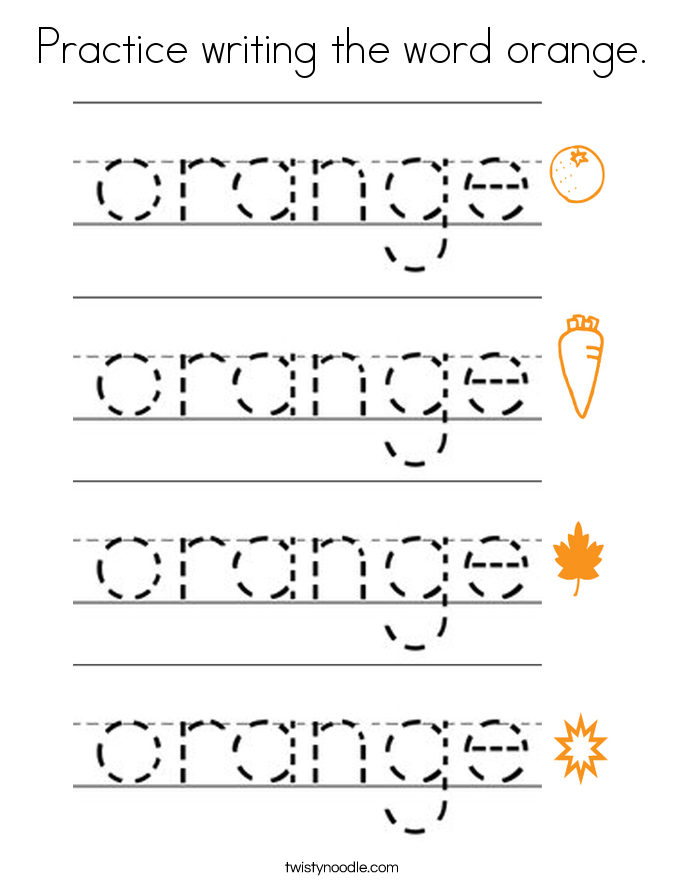Practice writing the word orange. Coloring Page
