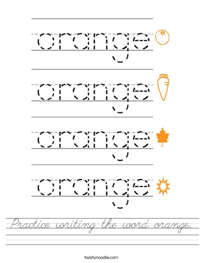 Practice writing the word orange. Worksheet