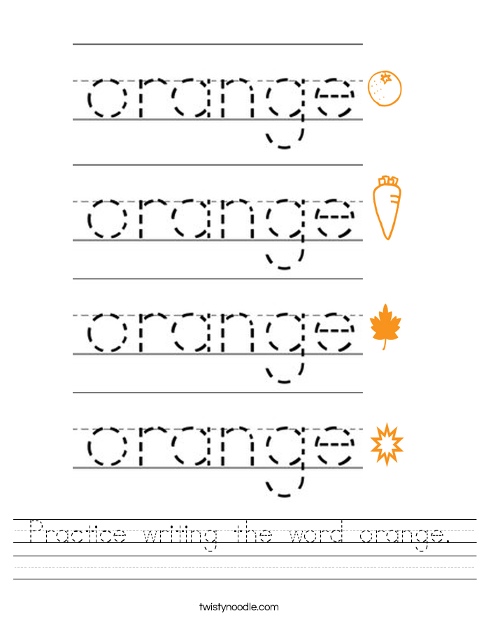 Practice writing the word orange. Worksheet