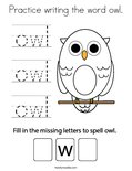 Practice writing the word owl. Coloring Page
