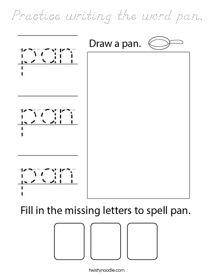 Practice writing the word pan. Coloring Page