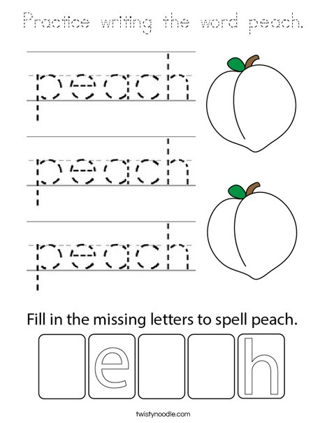 Practice writing the word peach. Coloring Page