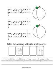 Practice writing the word peach Handwriting Sheet