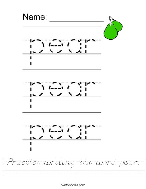 Practice writing the word pear. Worksheet