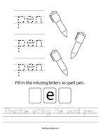 Practice writing the word pen Handwriting Sheet