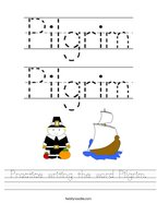 Practice writing the word Pilgrim Handwriting Sheet