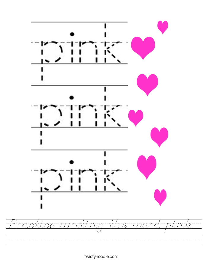 Practice writing the word pink. Worksheet