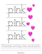 Practice writing the word pink Handwriting Sheet