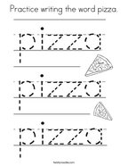 Practice writing the word pizza Coloring Page