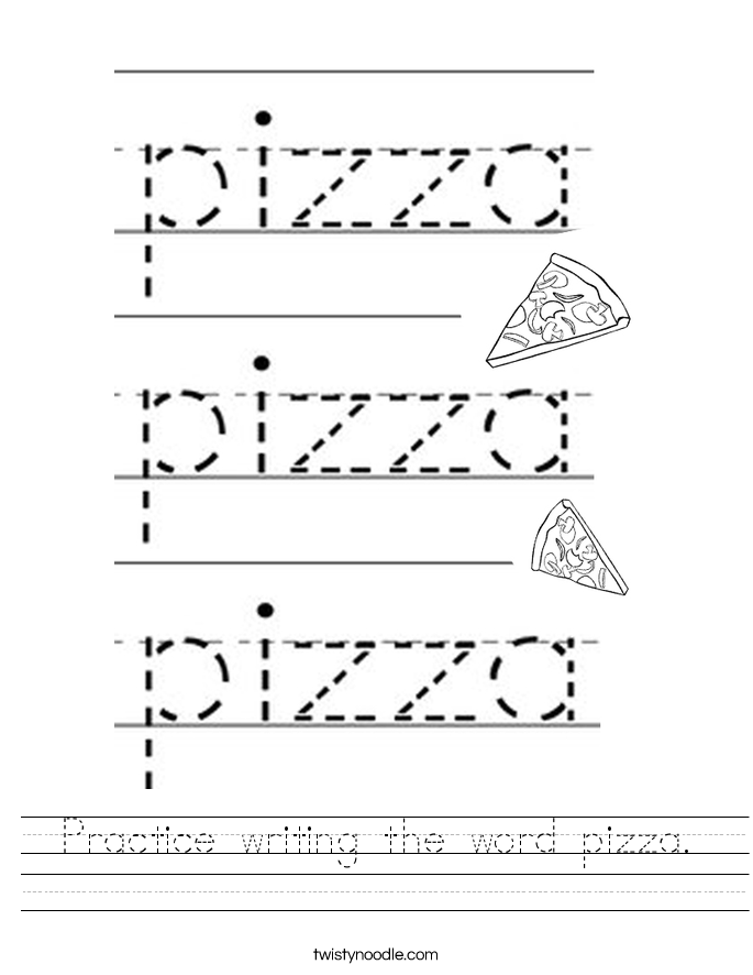 Practice writing the word pizza. Worksheet