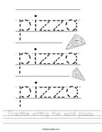 Practice writing the word pizza Handwriting Sheet