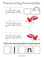 Practice writing the word plane Coloring Page