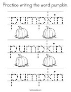 Practice writing the word pumpkin Coloring Page