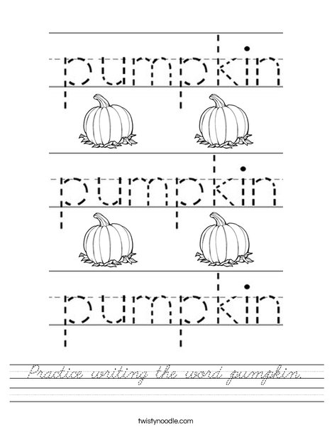 Practice writing the word pumpkin. Worksheet