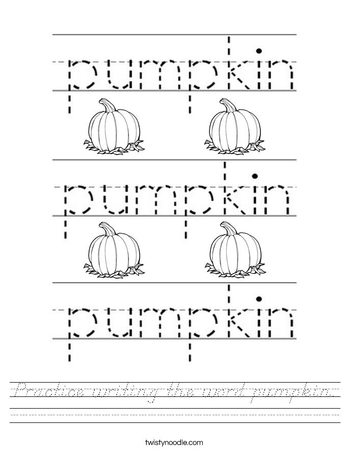 Practice writing the word pumpkin. Worksheet