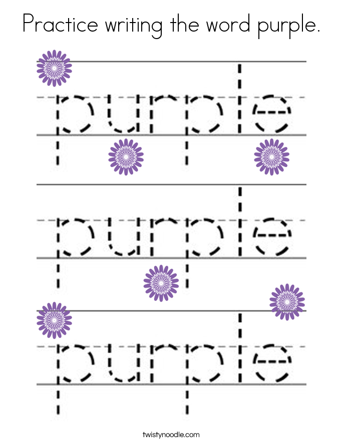 Practice writing the word purple. Coloring Page