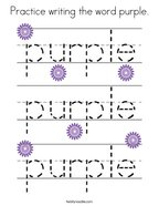 Practice writing the word purple Coloring Page