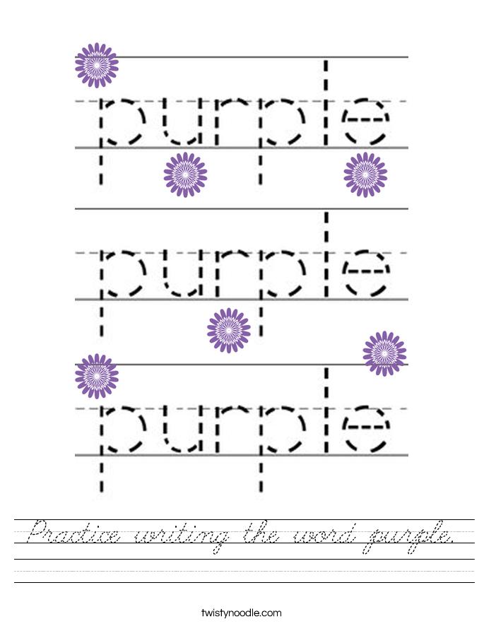 Practice writing the word purple. Worksheet