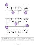 Practice writing the word purple Handwriting Sheet