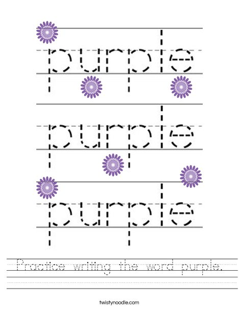 Practice writing the word purple. Worksheet