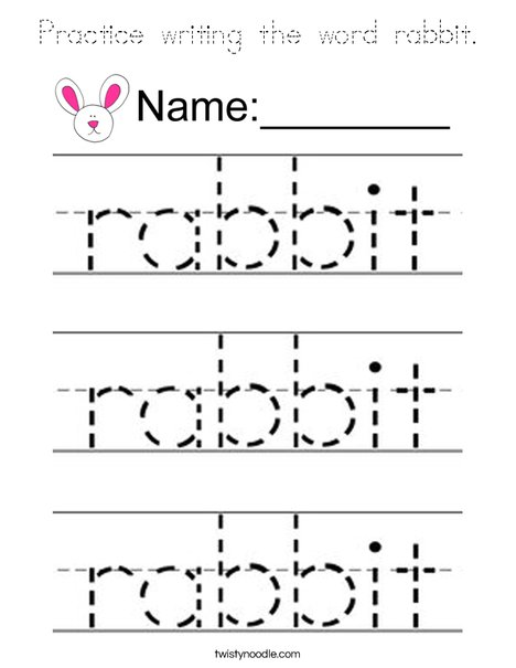 Practice writing the word rabbit. Coloring Page