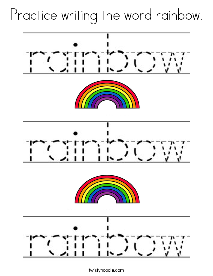 Practice writing the word rainbow. Coloring Page
