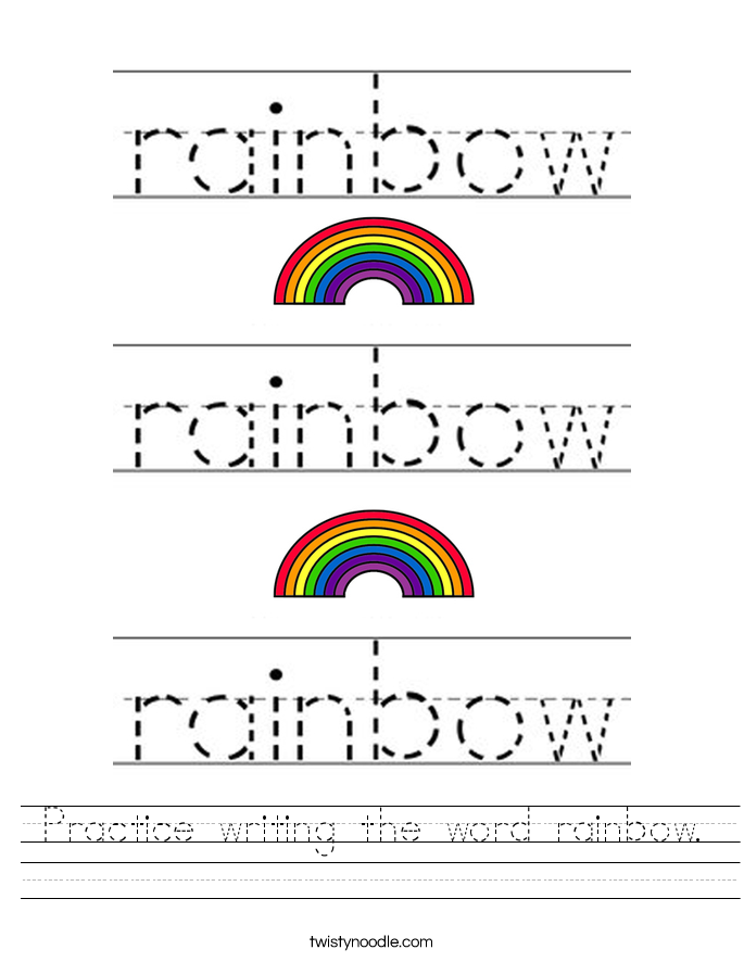 Practice writing the word rainbow. Worksheet