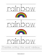 Practice writing the word rainbow Handwriting Sheet