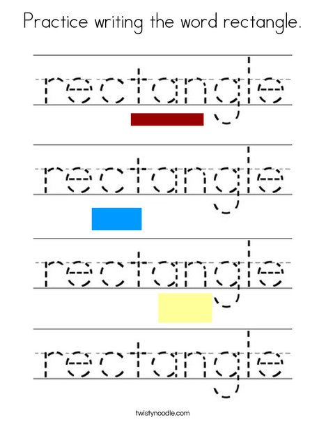 Practice writing the word rectangle. Coloring Page