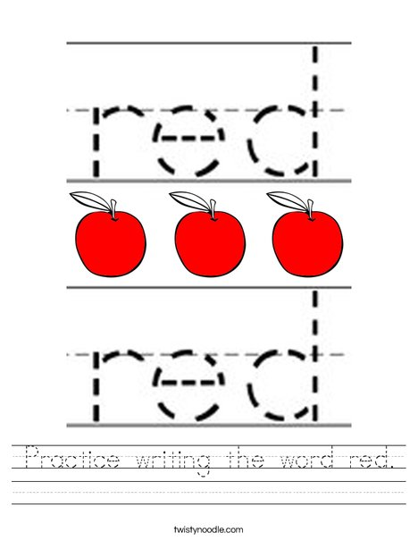 Practice writing the word red. Worksheet