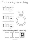 Practice writing the word ring. Coloring Page