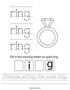 Practice writing the word ring Handwriting Sheet