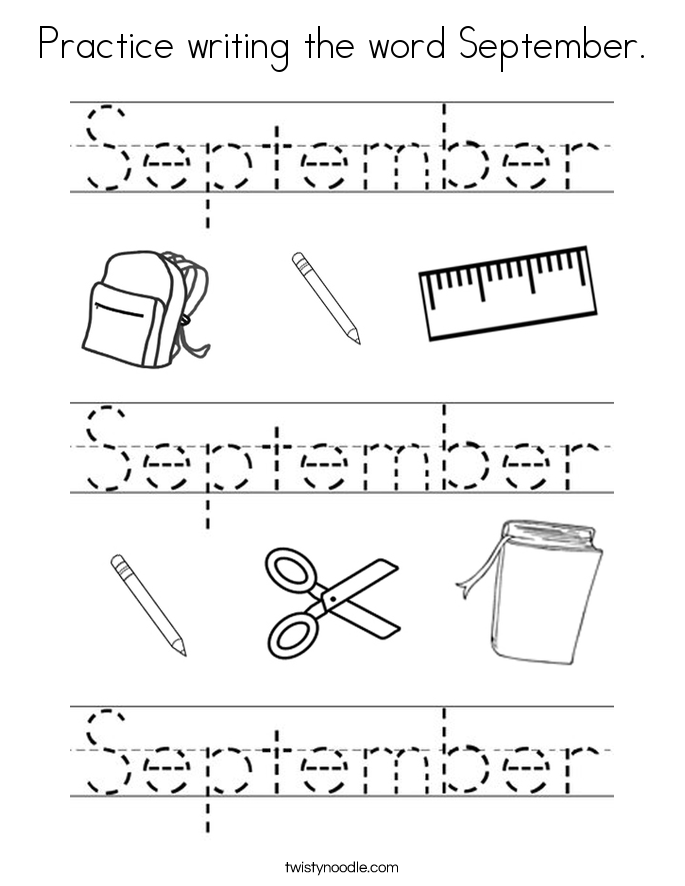 Practice writing the word September Coloring Page - Twisty Noodle