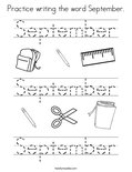 Practice writing the word September. Coloring Page