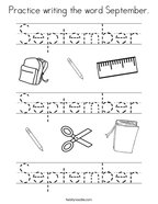 Practice writing the word September Coloring Page